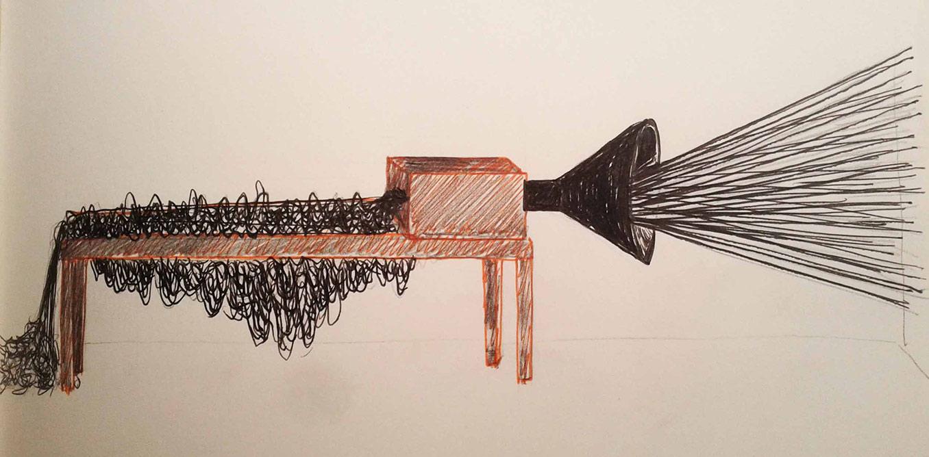 Bárbara Palomino. Sketch for Objetos Inventados 1. Entonador de Ruido, 2012.